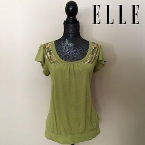 ELLE Moss Green Cap Sleeve Embellished Top