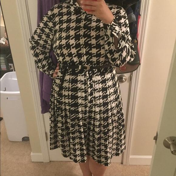 Plus size Calvin Klein houndstooth shirt dress