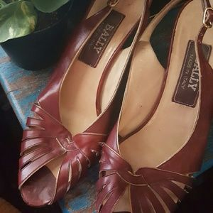 Bally Vintage 70s Sling Back with peep toe.