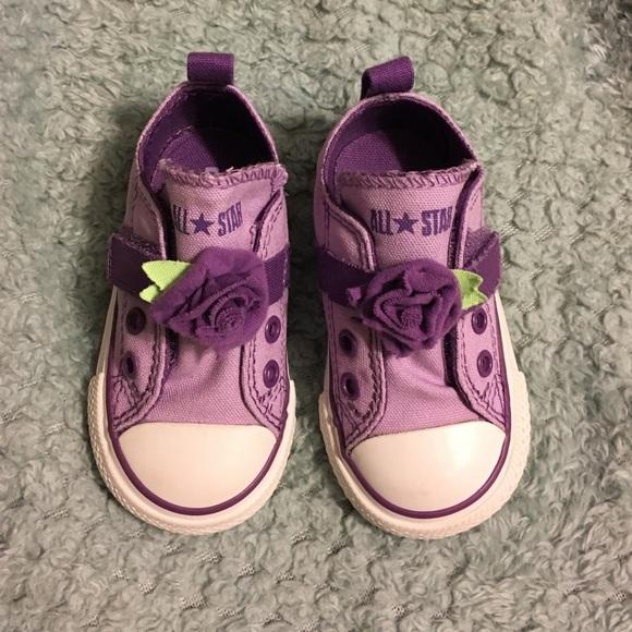 NWOB Infant Girls Purple Flower Converse