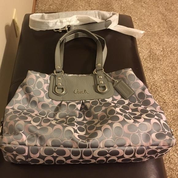 24b27923c3 Coach Handbags - Coach Silver/Pink/Gray Ashley Signature Carryall