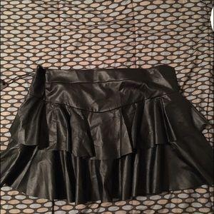 Leather  layered miniskirt