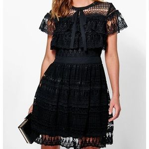 Boohoo Dresses & Skirts - BOUTIQUE ELLE ALL OVER LACE FRILL BLACK NWT SLEEVE