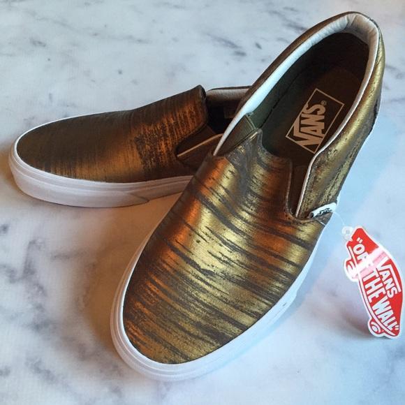 c62eaf7cfd VANs Brushed Metallic Gold Slip-Ons