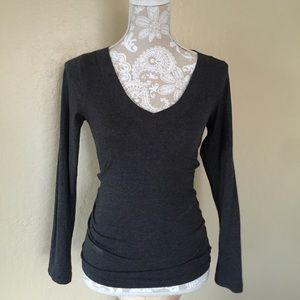 Ambiance Apparel Tops - Charcoal Grey Fitted Long Sleeve Cotton Tee