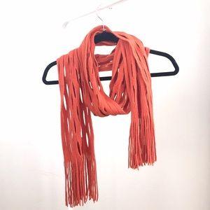 Accessories - Like NEW orange knit scarf w fringe details