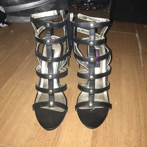 Dollhouse Shoes - Black Caged Heel