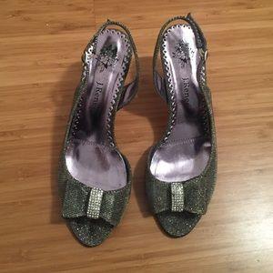 Nordstrom Shoes - J Renee silver sparkly slingback heels
