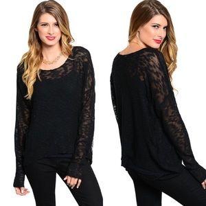 Boutique Sweaters - 🎉CLEARANCE🎉 Black Long Sleeve Slub Sweater