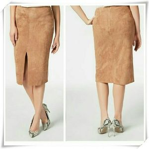 Faux suede midi skirt in sand color