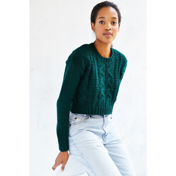 Urban Outfitters Sweaters Nwtuo Cable Knit Crop Sweater Deep Green