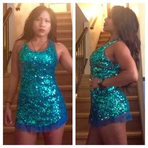 fancy sparkly sexy Teal green aqua sequin tunic