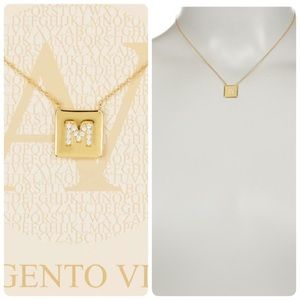 """18K gold p Sterling silver """"M"""" pendant necklace"""