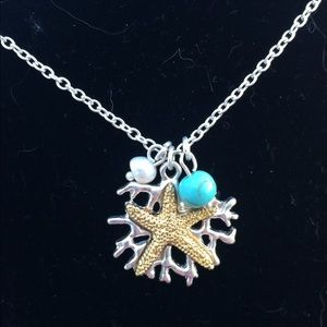 Two Tone Pearl Turquoise Starfish Pendant Necklace