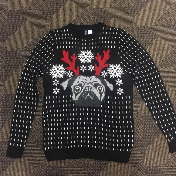 H&M Ugly Christmas Sweater Pug Reindeer