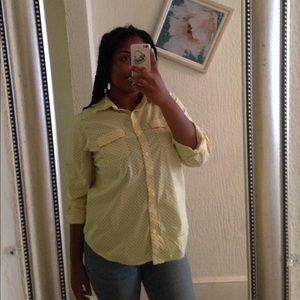 Yellow and navy blue women button down top
