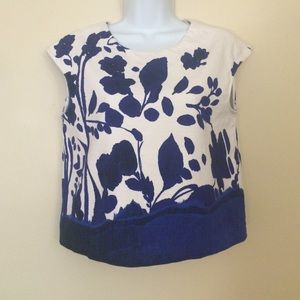 Zara Blue Floral Cropped Blouse