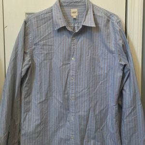 Men's Land's End Blue Striped Button Down Sz Large
