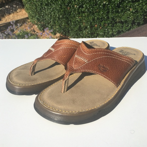 DR MARTENS WOMENS SANDALS LEATHER AIR CUSHIONED FLIP FLOPS BROWN SIZE 4