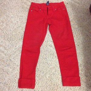 Red Capri jeans