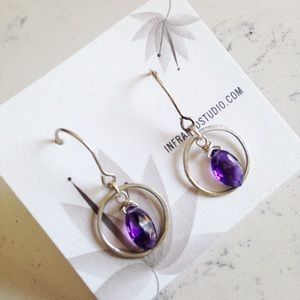 handmade Garnet or Amethyst silver hoop earrings