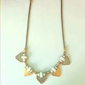 J. Crew gold white rhinestone statement necklace
