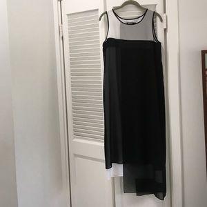 DKNY sleeveless asymmetrical hem dress