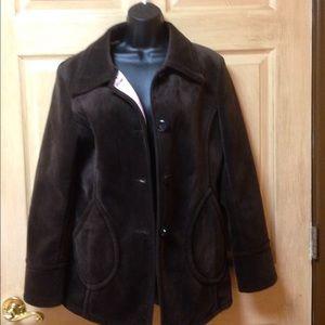 Super soft pea coat type button down jacket