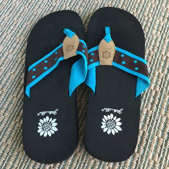 f996c9ac6 Blue brown polka dot flip flops