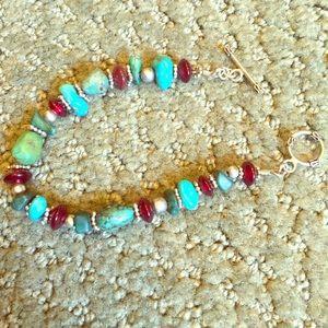 Turquoise and stone handmade bracelet