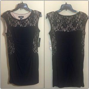 RM Richards Dresses & Skirts - Black Dress w/ Woven Lace