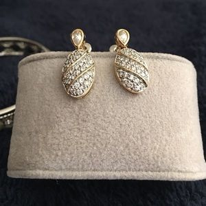 Jewelry - Gold & CZ drop pierced earrings
