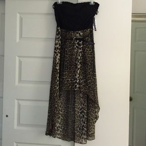 Joyce Leslie Dresses & Skirts - Strapless black lace and animal print dress