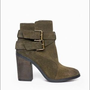 Shoemint Emma Suede Olive Green Booties Size 8.5