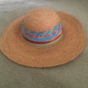 Straw Floppy Hat with Ribbons