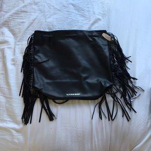 Victoria's Secret Black String Bag with Fringe