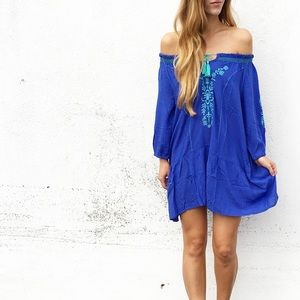 | new | blue embroidered dress