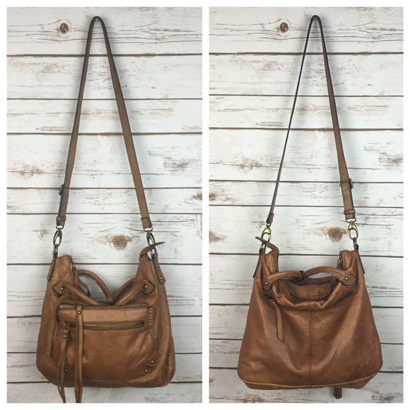 Lucky Brand Handbags -  Lucky  Leather Crossbody Satchel Boho Tan Hippie 695bfd88e16fe