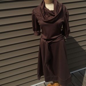 Shabby Apple chocolate brown cowl neck dress