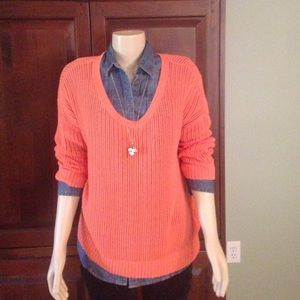Calvin Klein Collection Sweaters - Calvin Klein peach open weave sweater size M