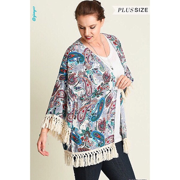 f71057511e7 Boho Plus Paisley Tassel Trim Open-Front Kimono