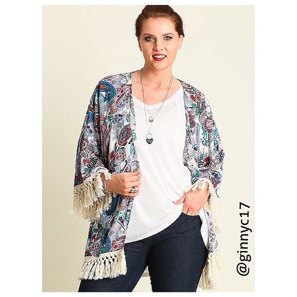 8f86010426d 🎉HP🎉 UMGEE Paisley Print Boho Tassel Trim Kimono