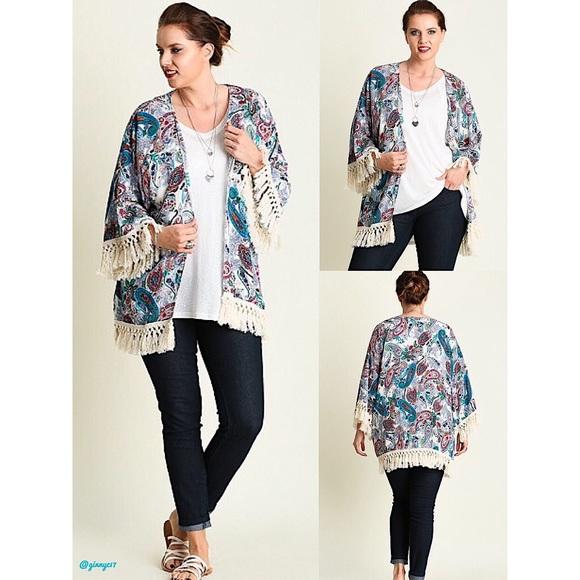 f94bc5dd6f2 🎉HP🎉 UMGEE Boho Tassel Trim Kimono