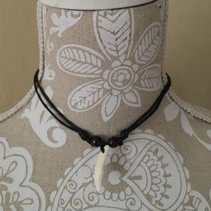 Jewelry - Leather Cording & Bone Choker Necklace