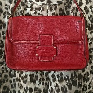 Red pebbled leather Kate Spade bag
