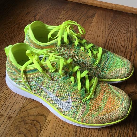 san francisco 9a420 32984 Nike Free TR 5 Flyknit Women s Training Shoe Neon