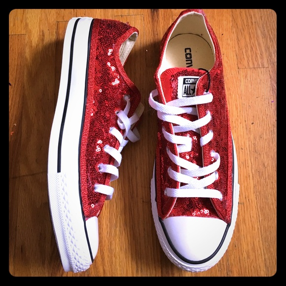 c122301faa2 Converse Red Sequin Low Tops Sneakers Shoes