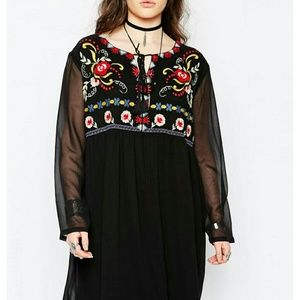 Boohoo Embroidered Dress