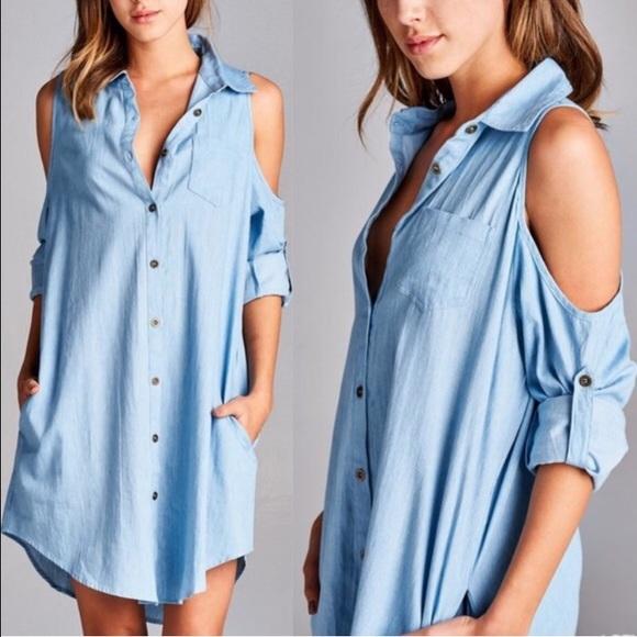 3eb0455dc5f5 Open Shoulder Light Blue Denim Shirt Dress