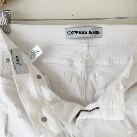 72% off Express Denim - Express White Distressed Mid-Rise Skinny ...